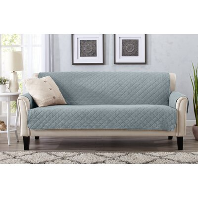 Great Bay Home Deluxe Stonewashed Reversible 100% Polyester Sofa Slipcover Upholstery: Mirage Gray