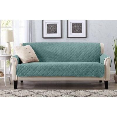 Great Bay Home Box Cushion Sofa Slipcover Upholstery: Aqua