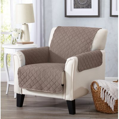 Great Bay Home Deluxe Stonewashed Reversible Furniture Protector Polyester Armchair Slipcover Upholstery: Chocolate