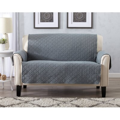 Great Bay Home Deluxe Stonewashed Reversible Furniture Protector Polyester Loveseat Slipcover Upholstery: Storm Gray