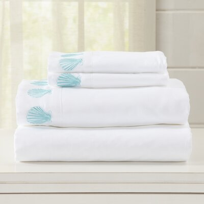 Great Bay Home Ultra Soft Double Brushed Microfiber Sheet Set with Embroidered Coastal Pattern Size: Full, Color: White
