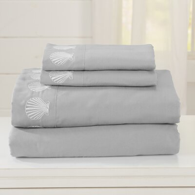 Great Bay Home Ultra Soft Double Brushed Microfiber Sheet Set with Embroidered Coastal Pattern Size: King, Color: Glacier Gray