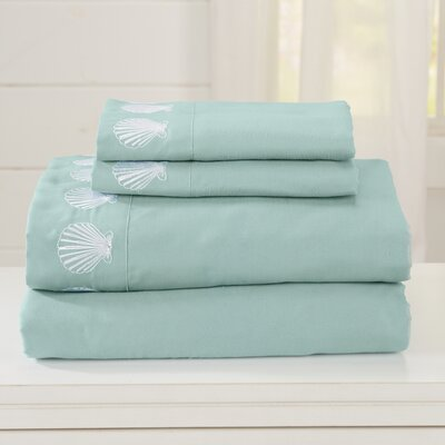 Great Bay Home Ultra Soft Double Brushed Microfiber Sheet Set with Embroidered Coastal Pattern Size: King, Color: Harbor Blue