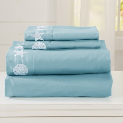 Seascapes Ultra Soft Double Brushed Microfiber Sheet Set with Embroidered Coastal Pattern Size: Full, Color: Aqua