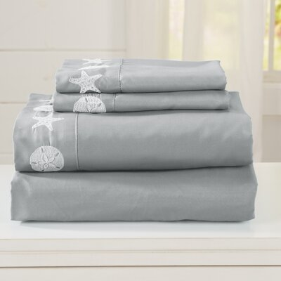 Seascapes Ultra Soft Double Brushed Microfiber Sheet Set with Embroidered Coastal Pattern Size: Queen, Color: Gray