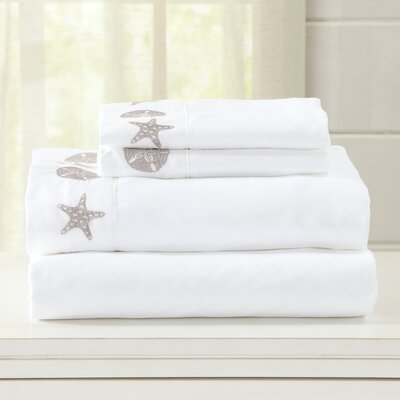 Seascapes Ultra Soft Double Brushed Microfiber Sheet Set with Embroidered Coastal Pattern Size: Twin, Color: White