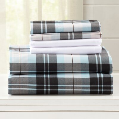 Hanley Ultra Soft Double Brushed Microfiber Plaid Sheet Set Size: King, Color: Blue/Brown