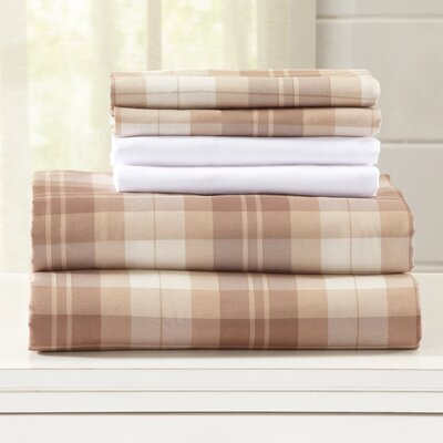 Hanley Ultra Soft Double Brushed Microfiber Plaid Sheet Set Size: King, Color: Gingersnap