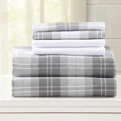 Hanley Ultra Soft Double Brushed Microfiber Plaid Sheet Set Size: Full, Color: Frosty Gray
