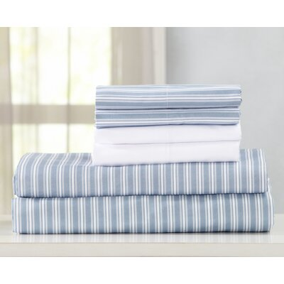 Acadia Ultra Soft Double Brushed Microfiber Striped Sheet Set Size: Twin, Color: Blue Stripe