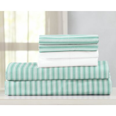 Acadia Ultra Soft Double Brushed Microfiber Striped Sheet Set Size: Twin, Color: Harbor Stripe