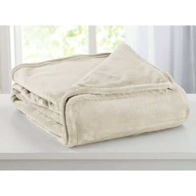 Portland Plush Super Soft Ultra Velvet Blanket Size: Twin, Color: Eggnog