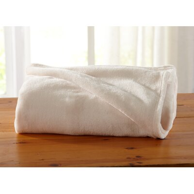 Jemma Ultra Velvet Plush Oversize Throw Color: Eggnog