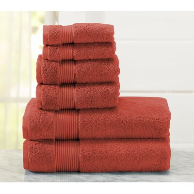 Paper Street 6 Piece Towel Set Color: Garnet Red