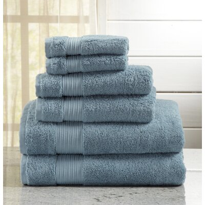 Highland Rim 6 Piece Towel Set Color: Rain Blue