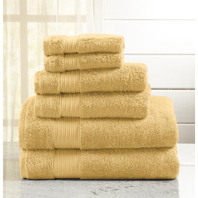 Highland Rim 6 Piece Towel Set Color: Gold
