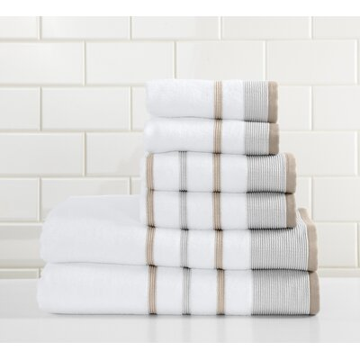 Jess 6 Piece Towel Set Color: Glacier Gray/Cappuccino