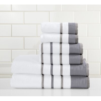 Jess 6 Piece Towel Set Color: Dark Gray/Light Gray
