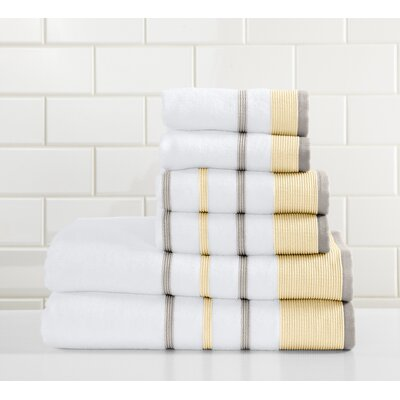 Jess 6 Piece Towel Set Color: Gold/Gray