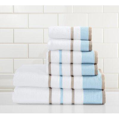 Jess 6 Piece Towel Set Color: Sky Blue/Cappuccino