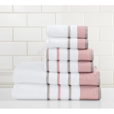 Jess 6 Piece Towel Set Color: Red/Gray