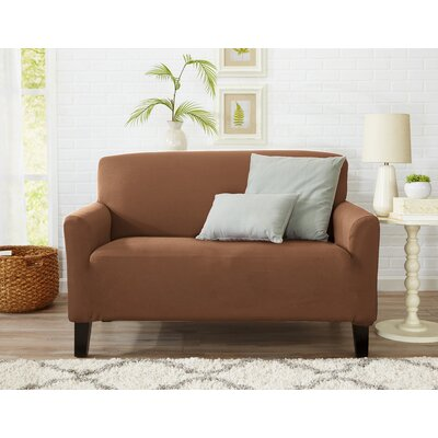 Box Cushion Loveseat Slipcover Upholstery: Toffee