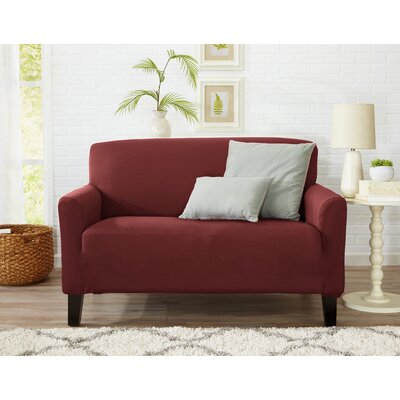 Box Cushion Loveseat Slipcover Upholstery: Wine