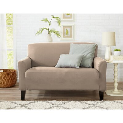 Box Cushion Loveseat Slipcover Upholstery: Tan