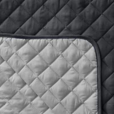 Reversible Quilted Box Cushion Recliner Slipcover Upholstery: Dark Gray / Light Gray