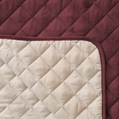 Reversible Quilted Box Cushion Recliner Slipcover Upholstery: Oxblood Red
