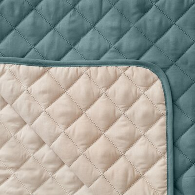 Reversible Quilted Box Cushion Recliner Slipcover Upholstery: Blue Silver