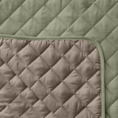 Reversible Quilted Box Cushion Recliner Slipcover Upholstery: Tea Green