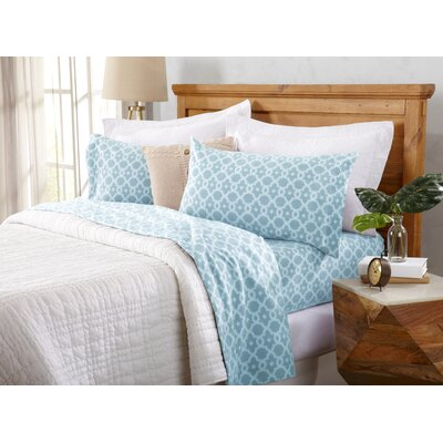 Hindsboro Polar Fleece Arbour Printed Fleece Sheet Set Size: Full/Double, Color: Ether Blue