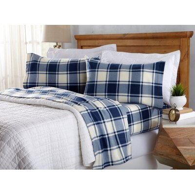 Matula Super Soft Plaid Fleece Flannel Sheet Set Size: Queen, Color: Navy
