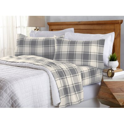 Matula Super Soft Plaid Fleece Flannel Sheet Set Size: Queen, Color: Gray Plaid