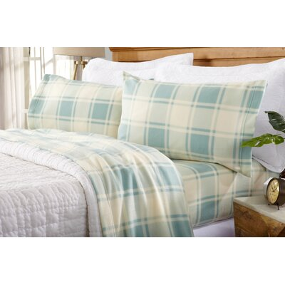 Matula Super Soft Plaid Fleece Flannel Sheet Set Size: Queen, Color: Harbor Blue