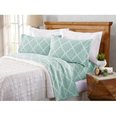 Hillyard Super Soft Cloud Lattice Fleece Flannel Sheet Set Size: Full/Double, Color: Cloud Blue