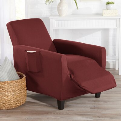 Box Cushion Recliner Slipcover Upholstery: Wine