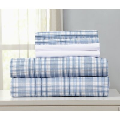 Acadia Microfiber Sheet Set Size: Full, Color: Blue/Beige