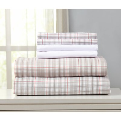 Acadia Microfiber Sheet Set Size: King, Color: Gray/Red