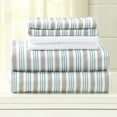 Hanley Microfiber  Sheet Set Size: Queen, Color: Blue/Gray