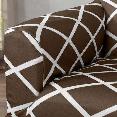 Form Fitting Stretch Diamond Printed T-cushion Sofa Slipcover Upholstery: Chocolate