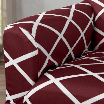 Form Fitting Stretch Diamond Printed T-cushion Loveseat Slipcover Upholstery: Burgundy