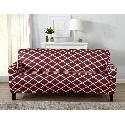 Form Fitting Stretch Diamond Printed T-cushion Sofa Slipcover Upholstery: Burgundy