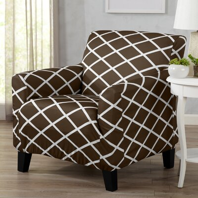 Form Fitting Stretch Diamond Printed T-cushion Armchair Slipcover Upholstery: Chocolate