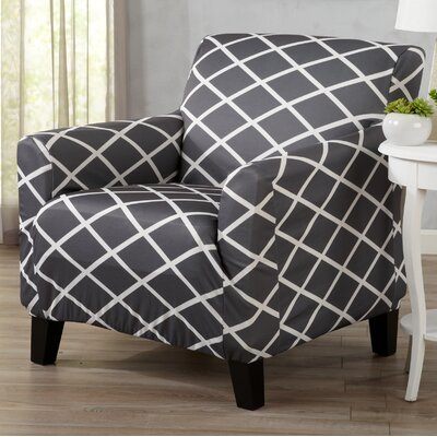 Form Fitting Stretch Diamond Printed T-cushion Armchair Slipcover Upholstery: Grey