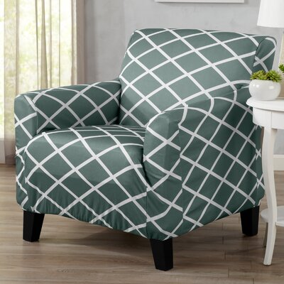 Form Fitting Stretch Diamond Printed T-cushion Armchair Slipcover Upholstery: Blue