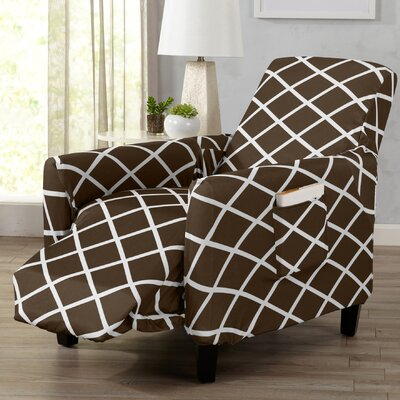 Form Fitting Stretch Diamond Printed T-cushion Recliner Slipcover Upholstery: Chocolate