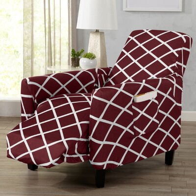 Form Fitting Stretch Diamond Printed T-cushion Recliner Slipcover Upholstery: Burgundy