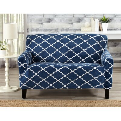 T-Cushion Loveseat Slipcover Color: Navy
